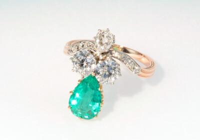 Bersicht antik ring smaragd