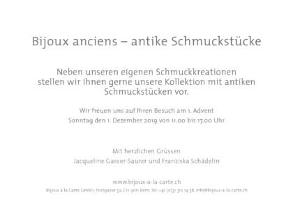 Karte Advent 2019 2 Goldschmied Schmuck Trauringe Antikschmuck Goldschmiedeatelier Bern