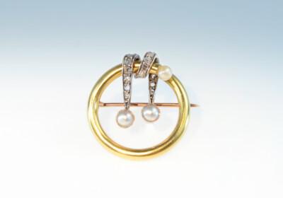 Brosche rund diamanten perlen