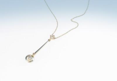 Anhänger Art Déco, Platin auf Gelbgold mit Diamanten, Kette Weissgold 750, CHF 1850.-
