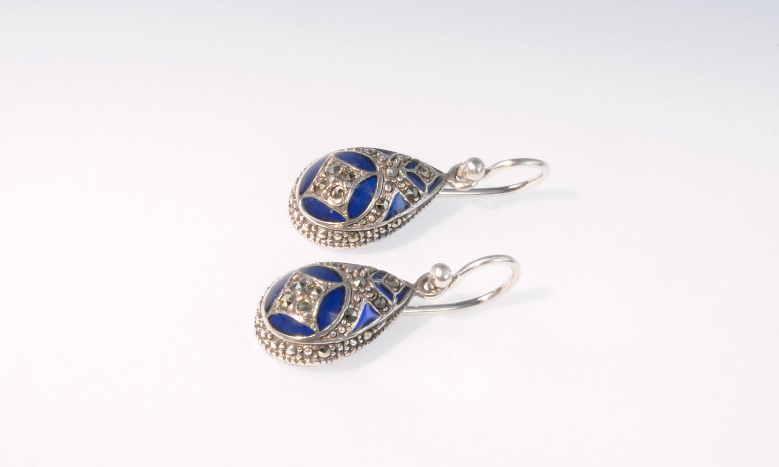 Ohrhaenger Vintage Silber. Ohrhänger Vintage, um 1970, Silber 925 mit Markasit und blauem Glas, CHF 350.-