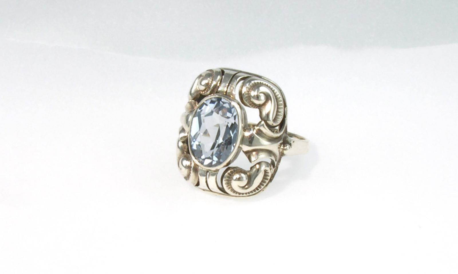 Ring Jugendstil Silber. Ring Silber 835, um 1900,
