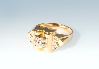 Ring art deco diamant rotgold