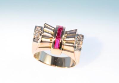 Ring art deco rubin diamant