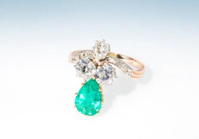 Ring belle epoque smaragd