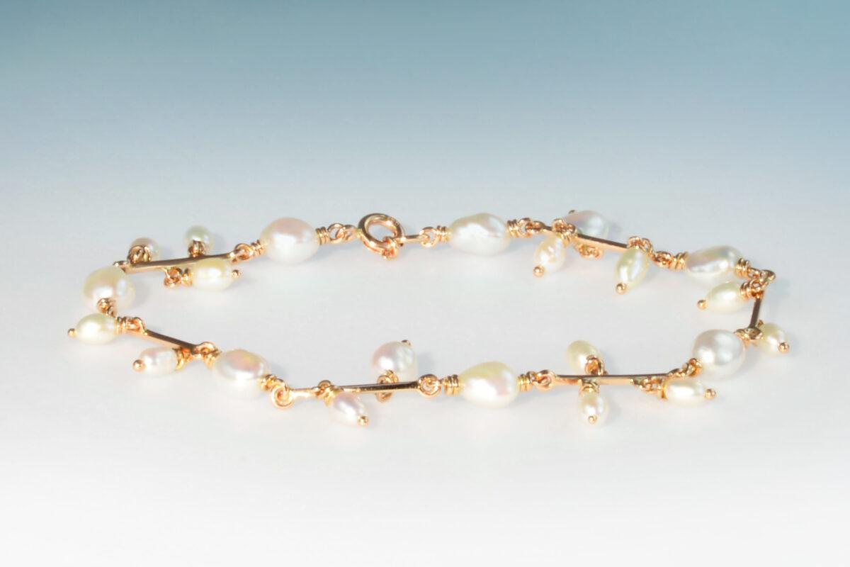 Bracelet rotgold perlen