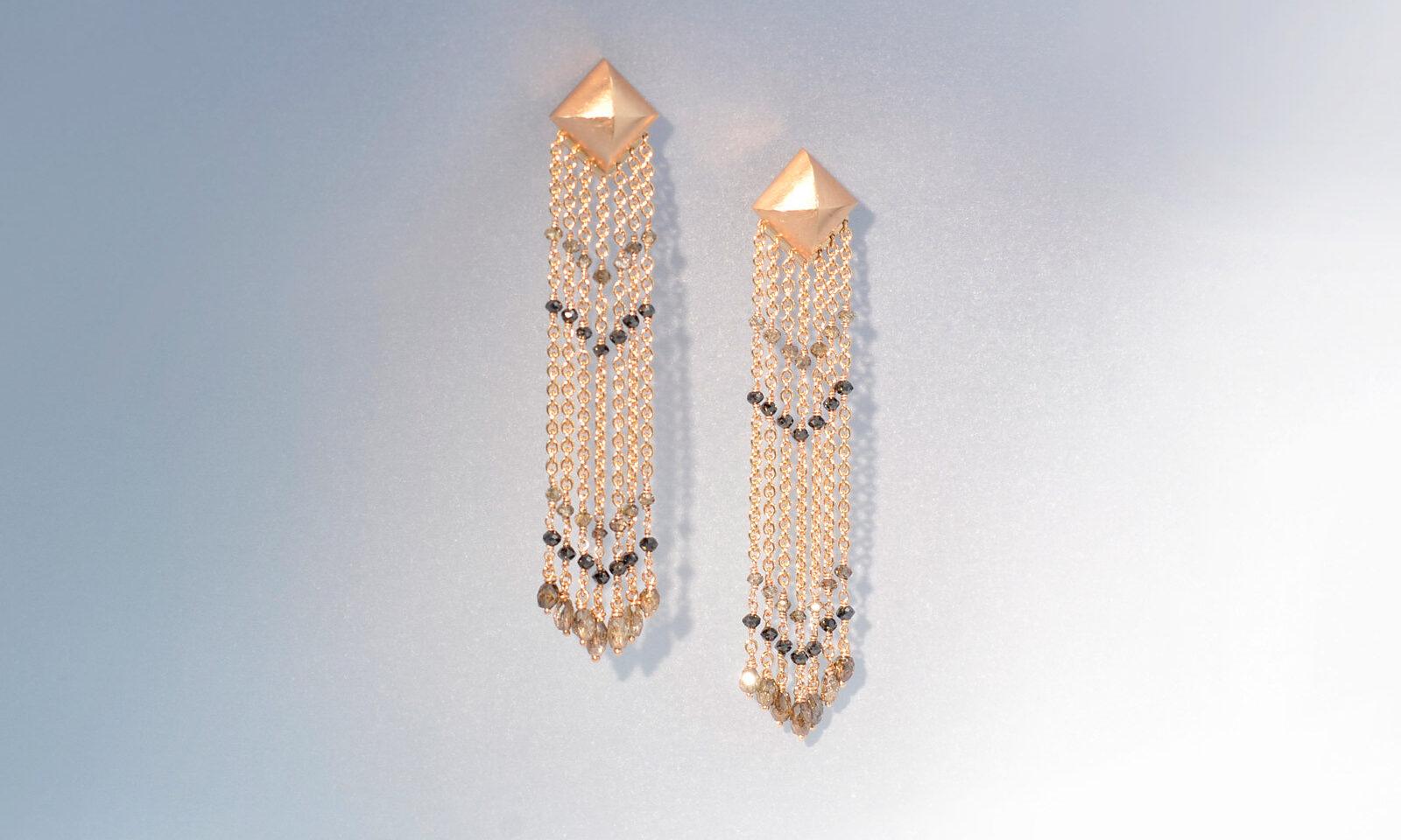 Ohrhaenger charleston. Ohrhänger Rotgold 750 mit naturfarbenen Diamanten, Länge 6.5 cm, CHF 4950.-