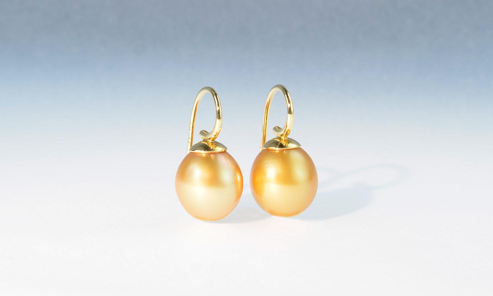 Ohrhaengser suedsee gold. Ohrhänger mit Südseeperlen Tropfen 10.5 x 12 mm und Gelbgold 750, CHF 1800.-