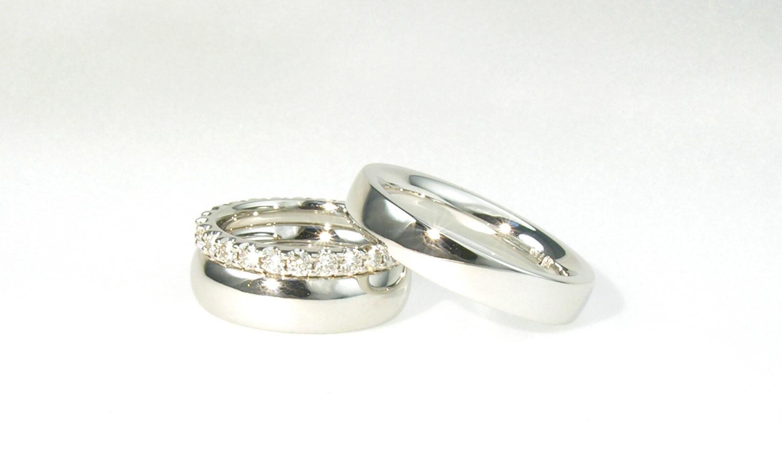 Alliance Ringe Weissgold. Trauringe Weissgold 750, zweiter Damenring mit Brillanten, individuelle Anfertigung für Kunden