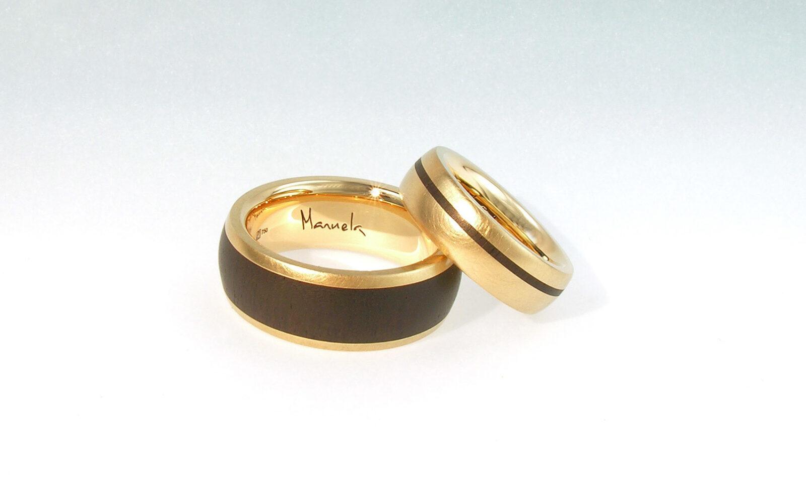 Hochzeit Ringe Blackwood. Eheringe Roségold 750 mit Blackwood, individuelle Anfertigung für Kunden