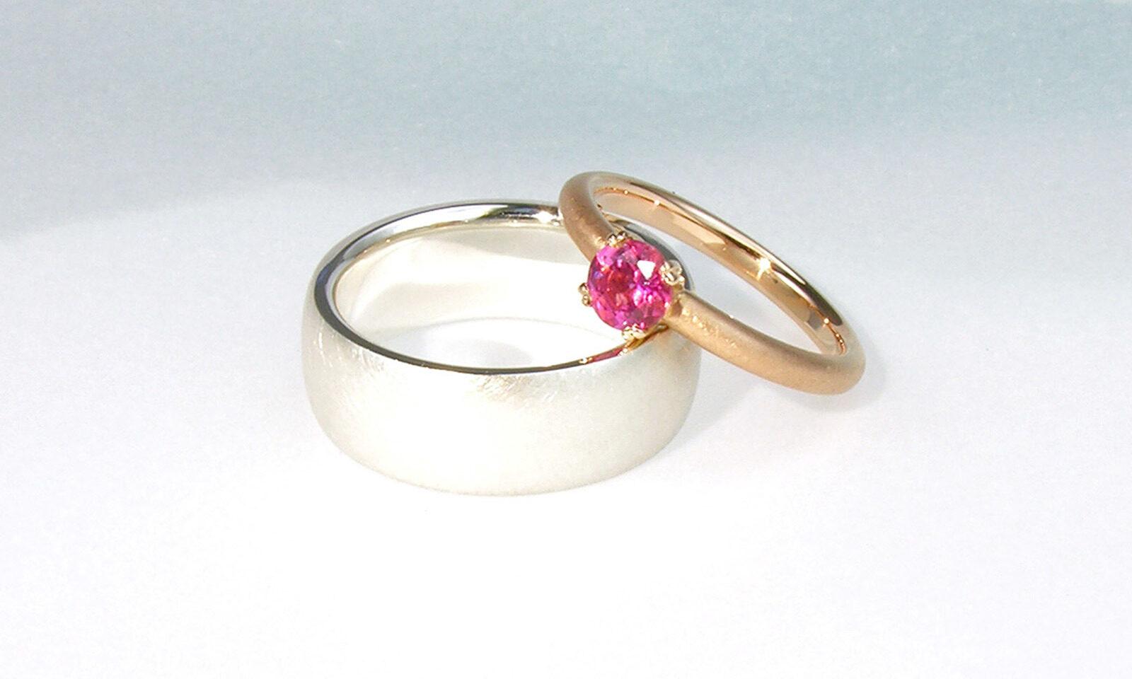 Hochzeitsringe Silber Turmalin. Eheringe Silber 925 und Rotgold 750 mit Turmalin, individuelle Anfertigung für Kunden