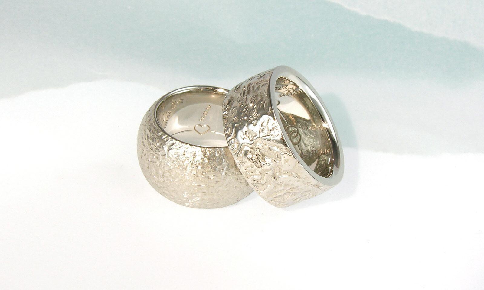 Platin Ringe Hochzeit. Trauringe Platin 950, individuelle Anfertigung nach Wunsch der Kunden