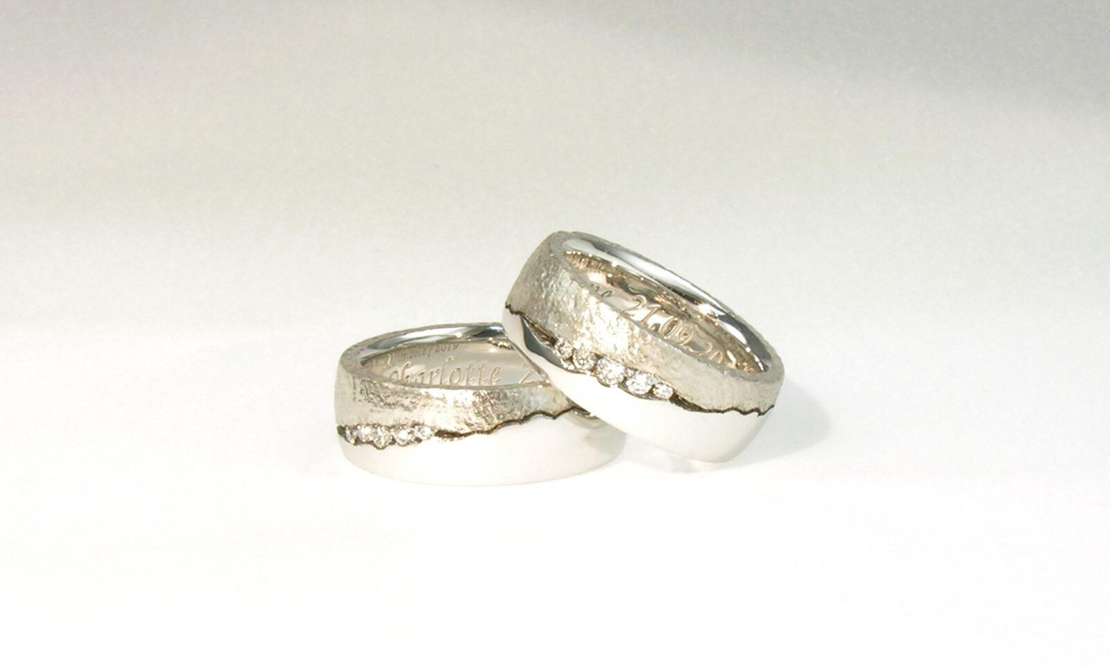 Weissgold Diamanten. Trauringe Weissgold 750 und Brillanten, individuelle Anfertigung für Kundinnen